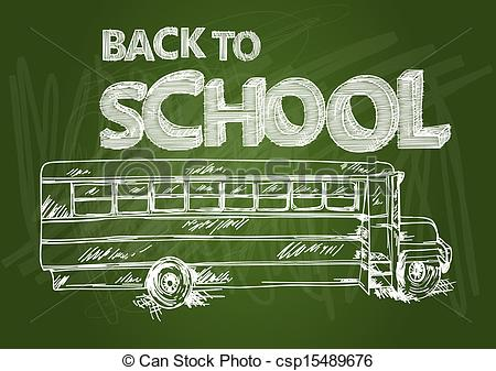 Clipart Vector of Back to school bus education chalkboard sketch.