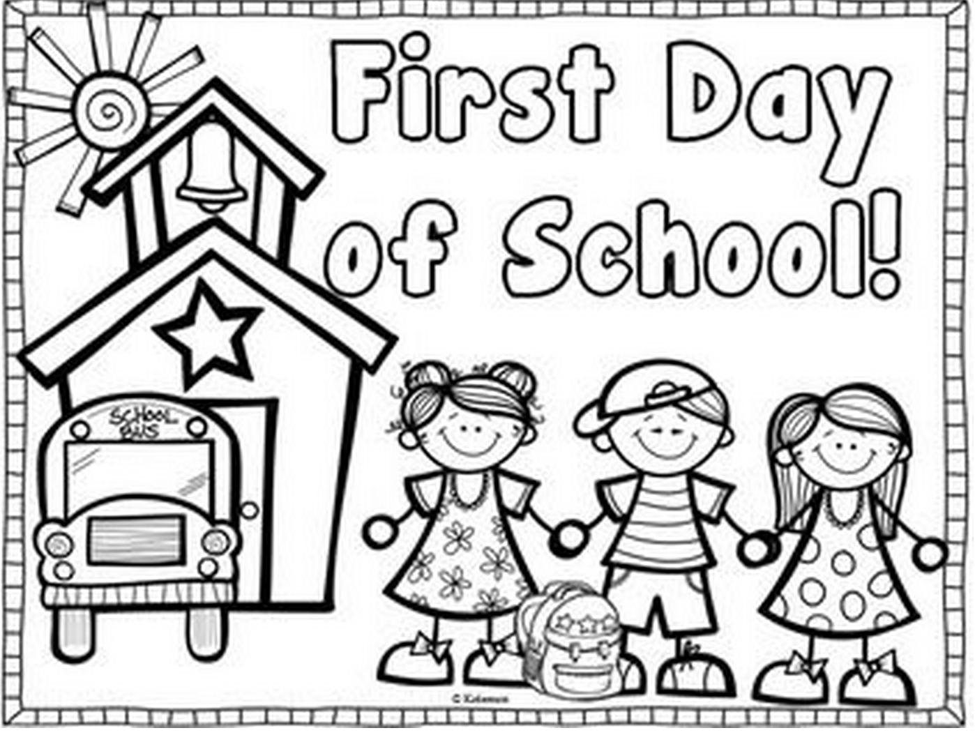 First Day Of School Coloring Pages For Kindergarten.