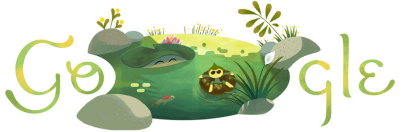 Summer solstice 2018 Google doodle showcases relaxing pond.