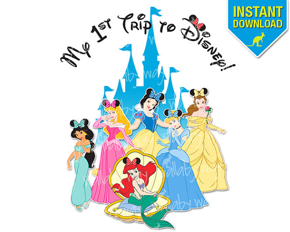 First Trip to Disney Princess Printable Iron On by TheWallabyWay.