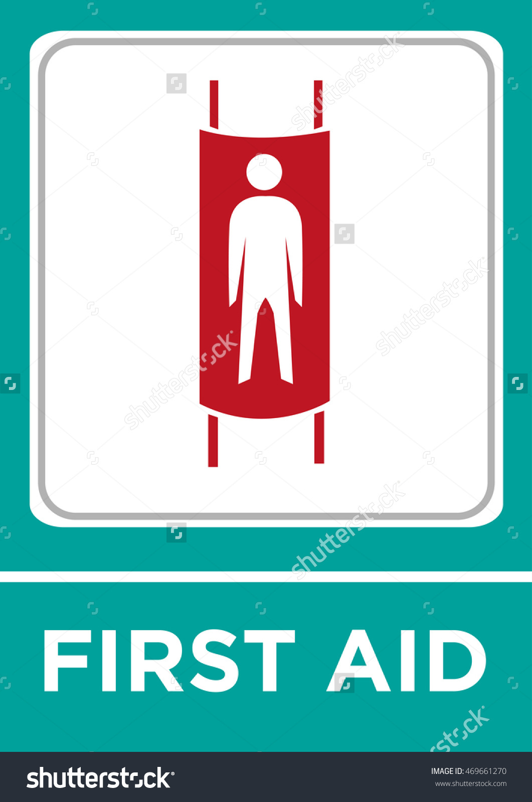 First Aid Concept Of A Human Figure In A Stretcher. Editable Clip.