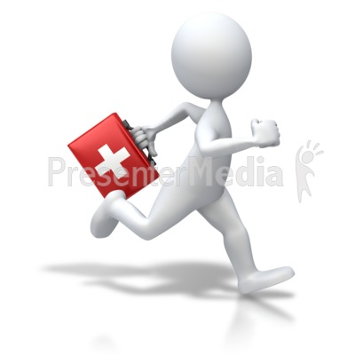 Stick Figure Running First Aid PowerPoint Clip Art.