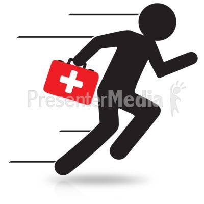 Stick Figure Running First Aid.