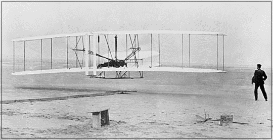 The Wright Brothers first flight in 1903 at KittyHawk, North.