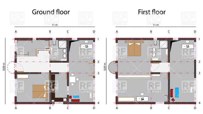 Home ground and first floor plans Vector Image #11187.