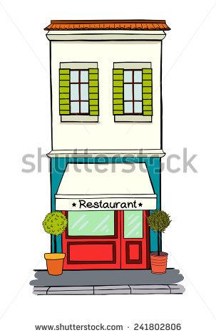 Illustration Storefront On Ground Floor Multistory Stock Vector.