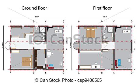 Clipart Vector of home design blueprint, ground and first floor.