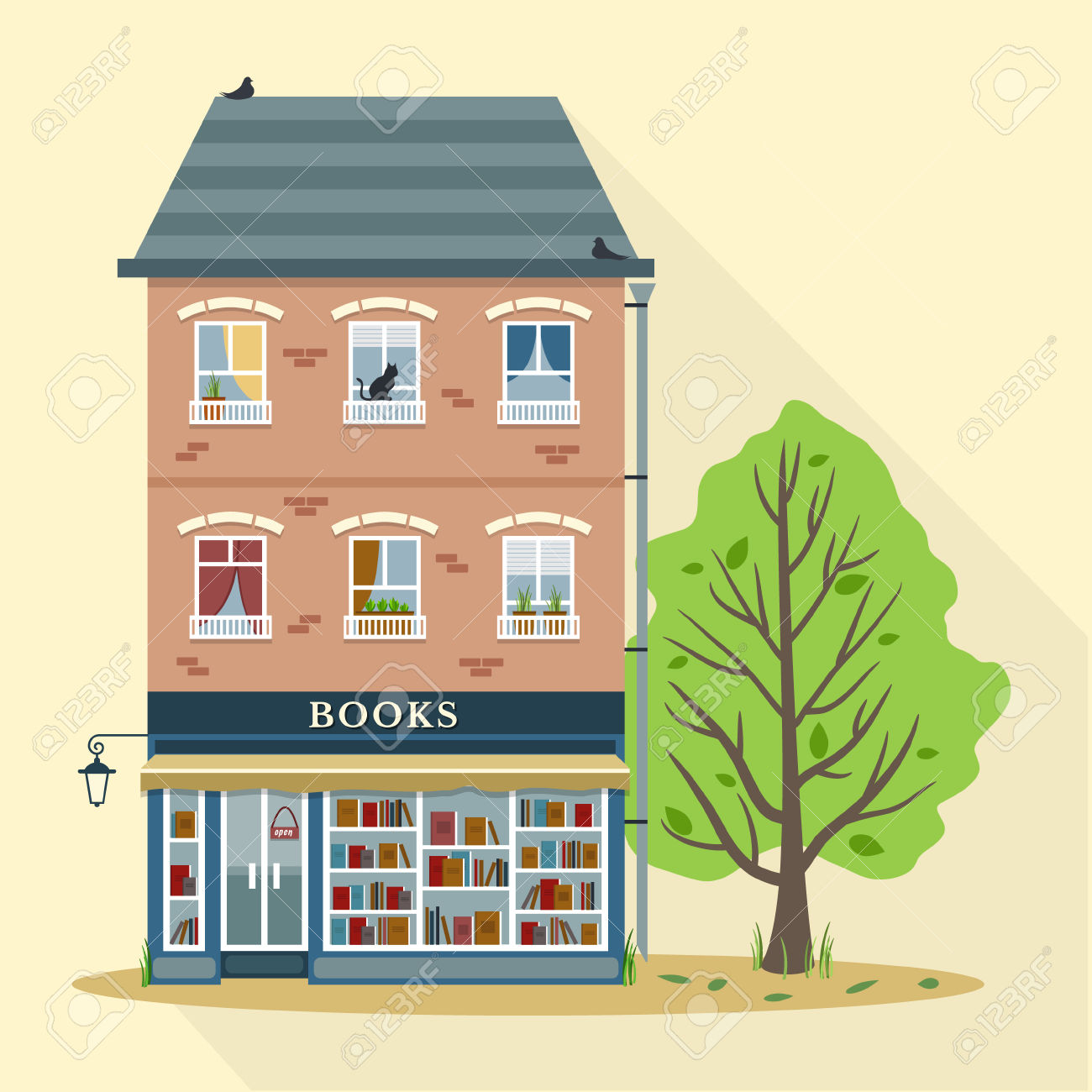 Summer. Flat Style Retro House With Books Shop On First Floor.