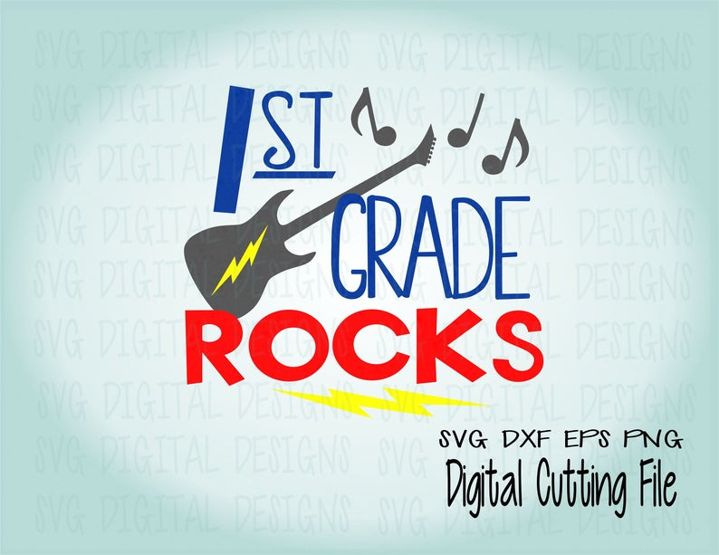 First Grade Svg, 1st Grade Rocks Clipart SVG Cut files, Svg Dxf Eps Png  files for Silhouette and Cricut Back to School Script Digital Design.