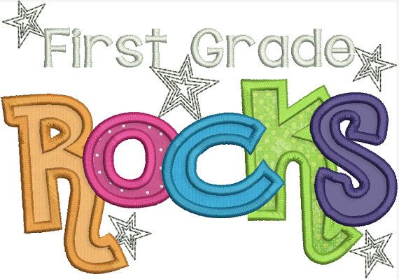 First Grade Rocks Digital Machine Applique File by bugabootwo, $3.00.