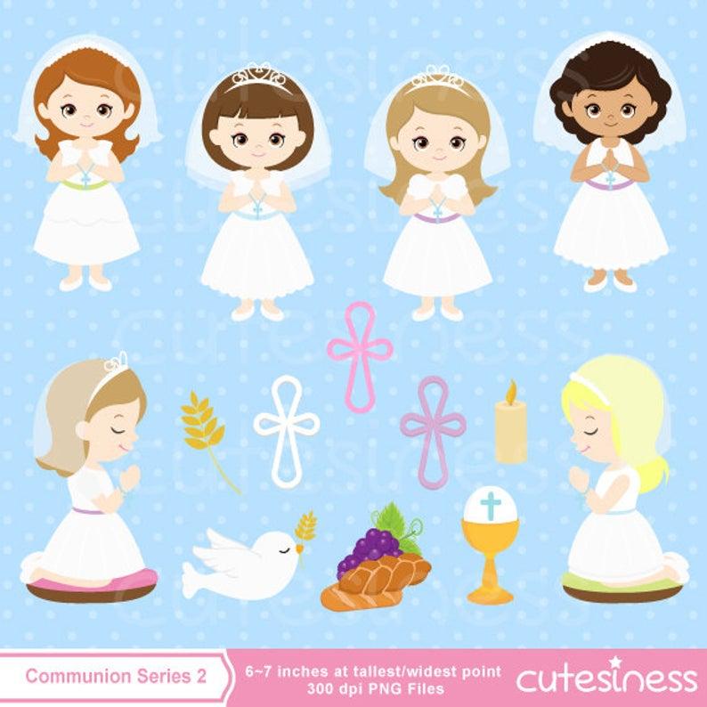 Digital First Communion Clip Art, Girl First Communion Clipart, First  Communion Digital Clipart, Girl First Communion Clip Art.