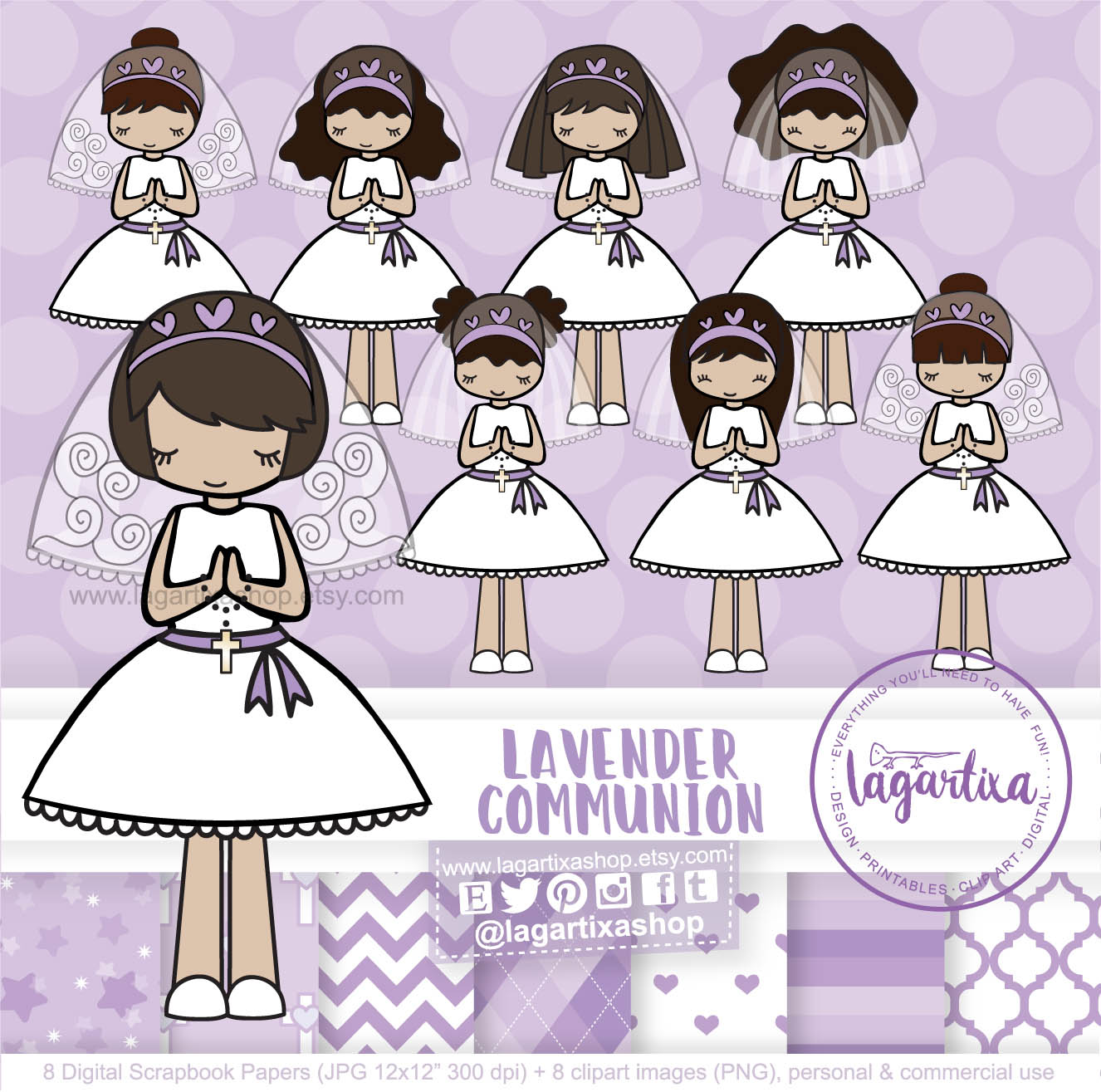 Brunette and Blonde Girls First Holy Communion lavender, lilac, violet,  purple Digital Paper Clip art Pink Chevron Hearts Baptism.