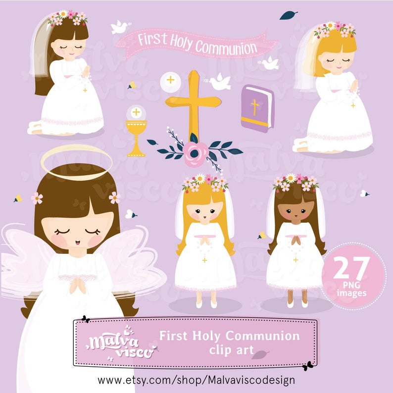 First Holy Communion Girl Clip art set, holy, religious, bible, church,  invitation stickers, first communion for girls.