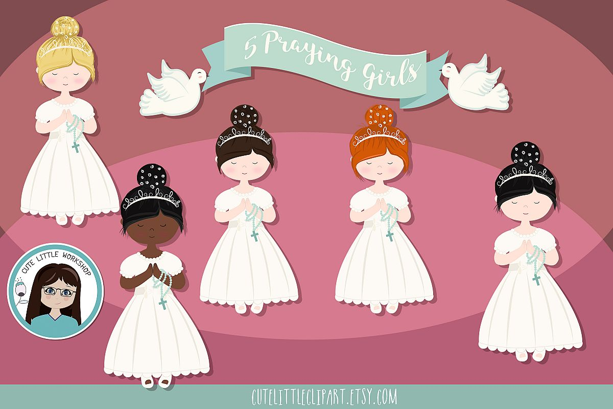 First Holy Communion Girls clipart, Five girls praying, grap.