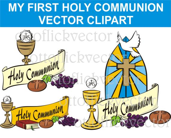 MY FIRST Holy COMMUNION Vector Clipart, religion symbols eps, ai, cdr, png,  jpg, celebrate communion banner. invitation, card, background.