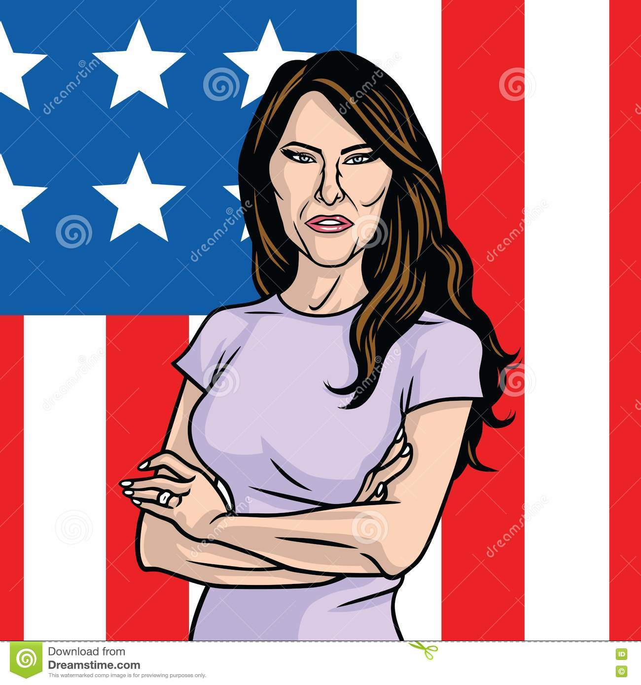 Melania Trump The First Lady Of The US. The Flag Of The United.
