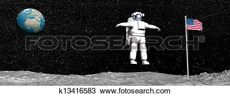 Drawing of First man on the moon.