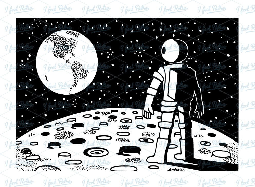 First man on moon clipart.