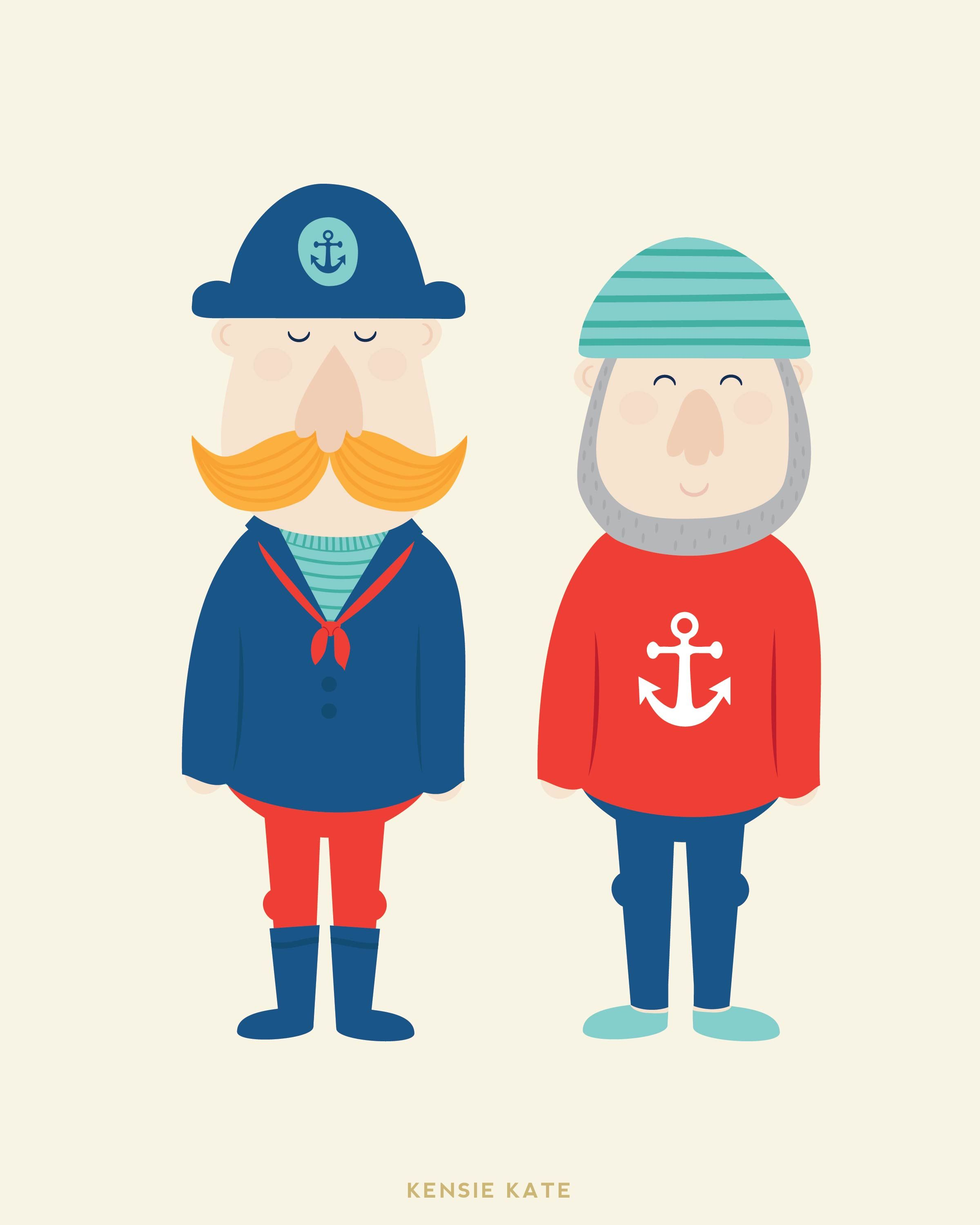 Every captain needs a first mate! New nautical prints.