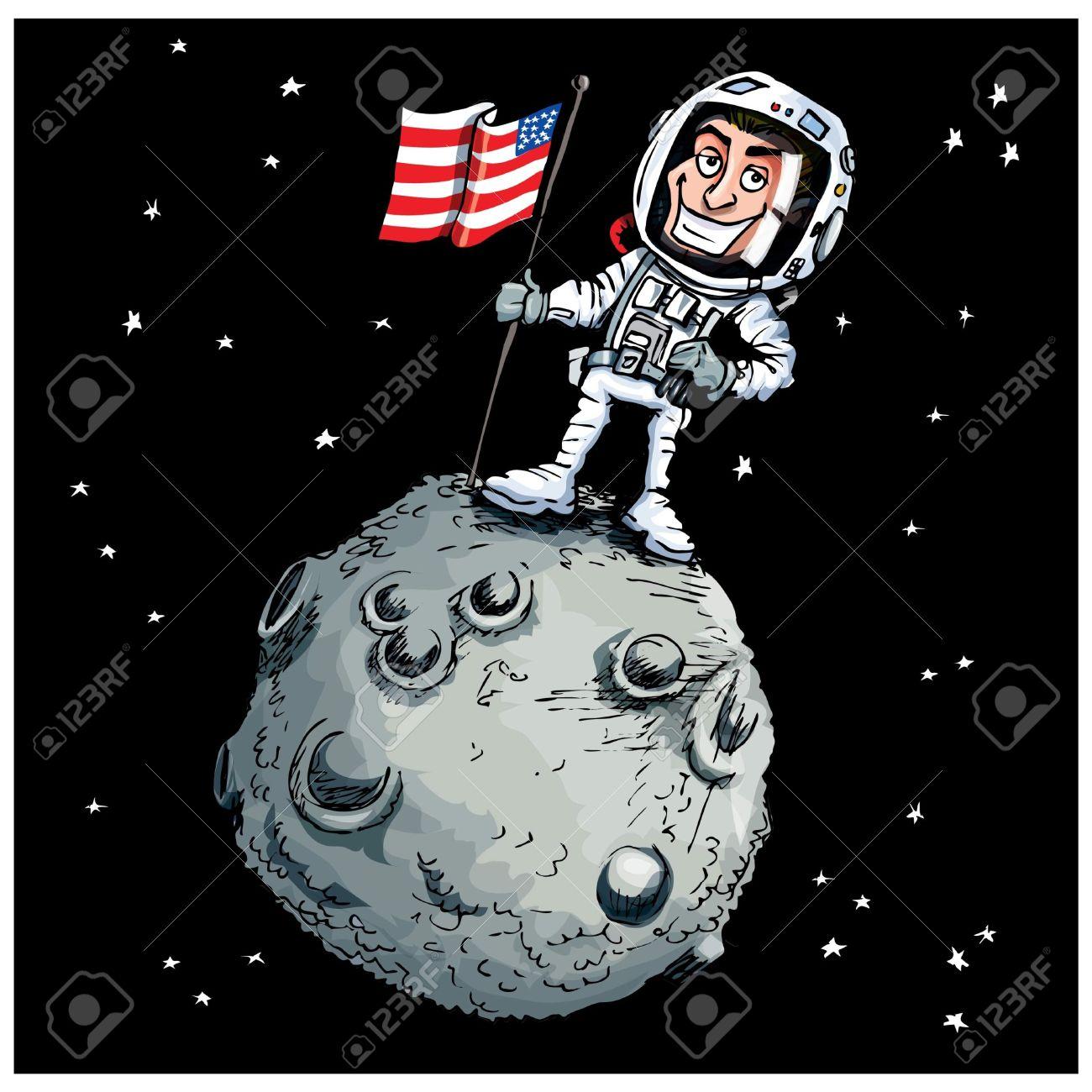 Flag on moon clipart.