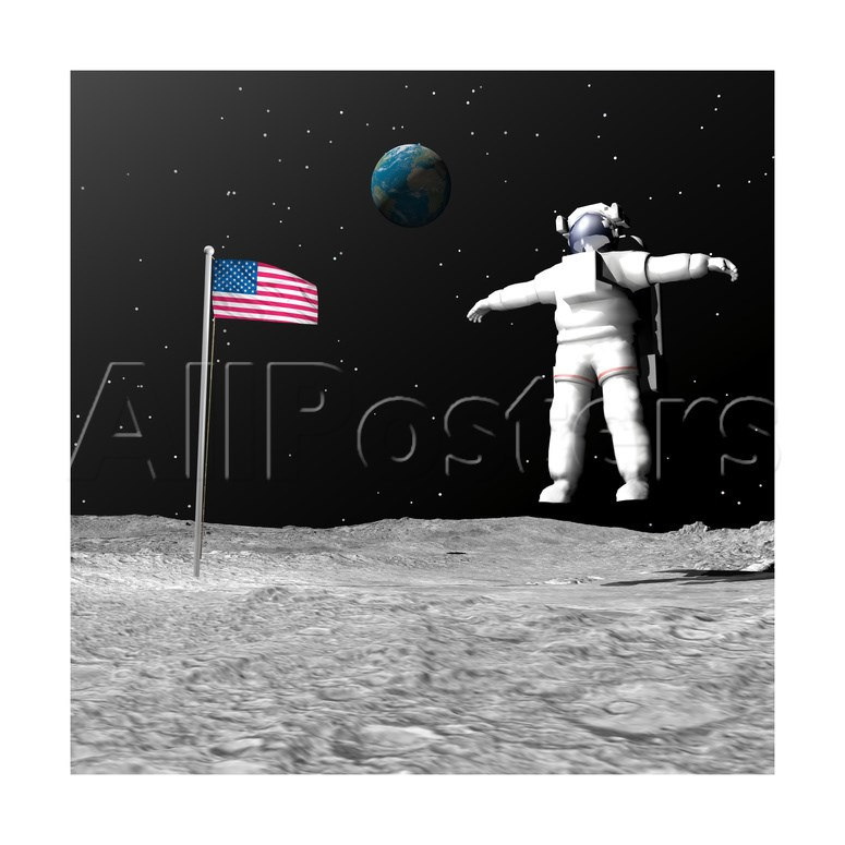 First Astronaut on the Moon Floating Next to American Flag Prints.