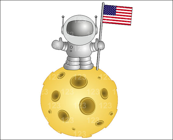 Clipart man on the moon.
