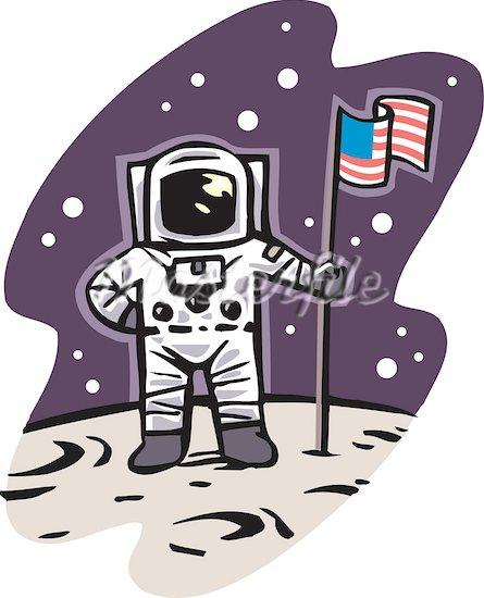 Astronaut on moon clipart.