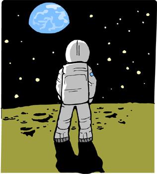Man on the moon clipart.