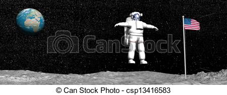 Stock Illustration of First man on the moon.