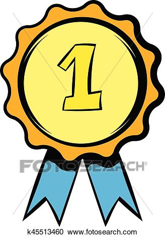 First place rosette icon, icon cartoon Clipart.