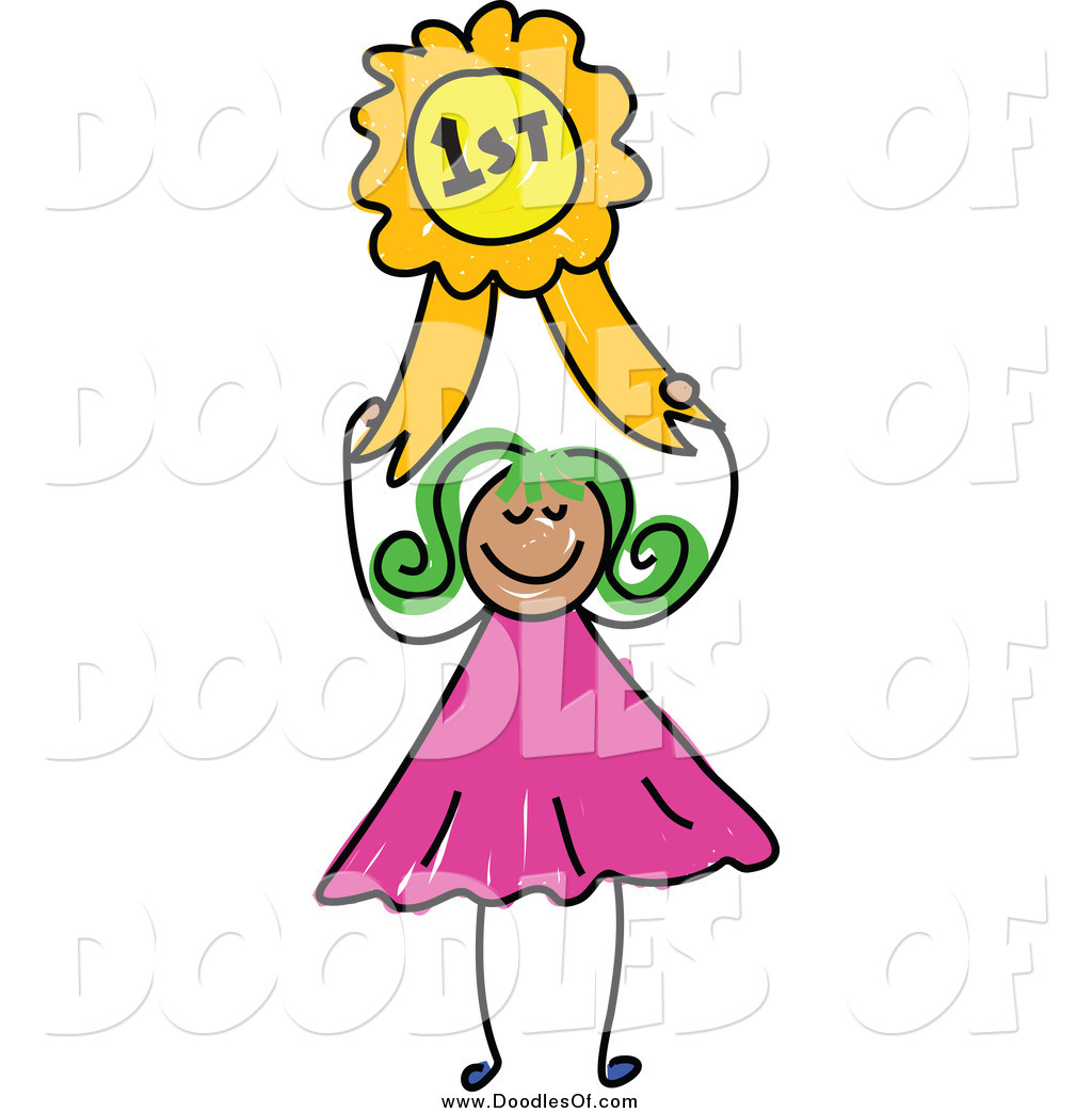 Vector Clipart of a Happy Green Haired Doodled Girl Holding a First.