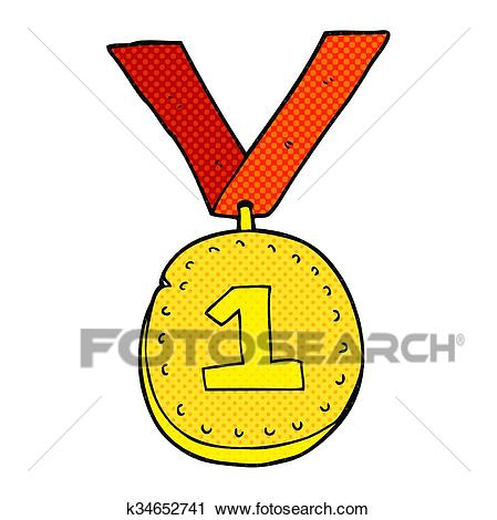 Cartoon first place medal Clipart.