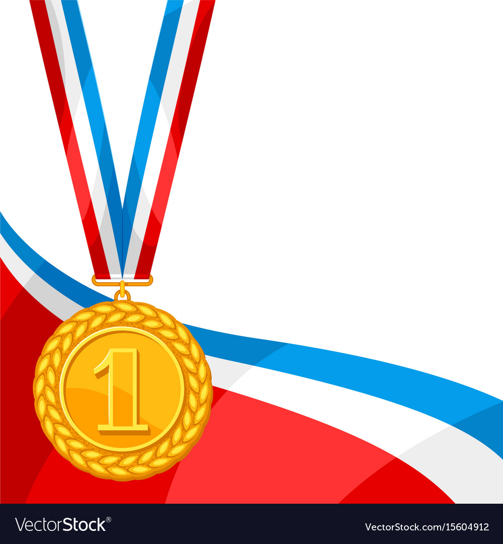 Realistic gold medal for first place background.