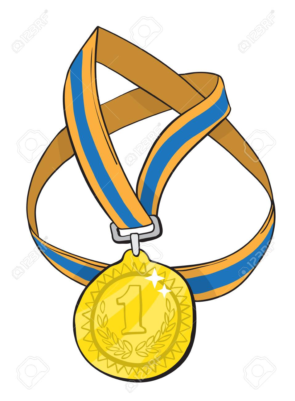 Cartoon image of first place medal.