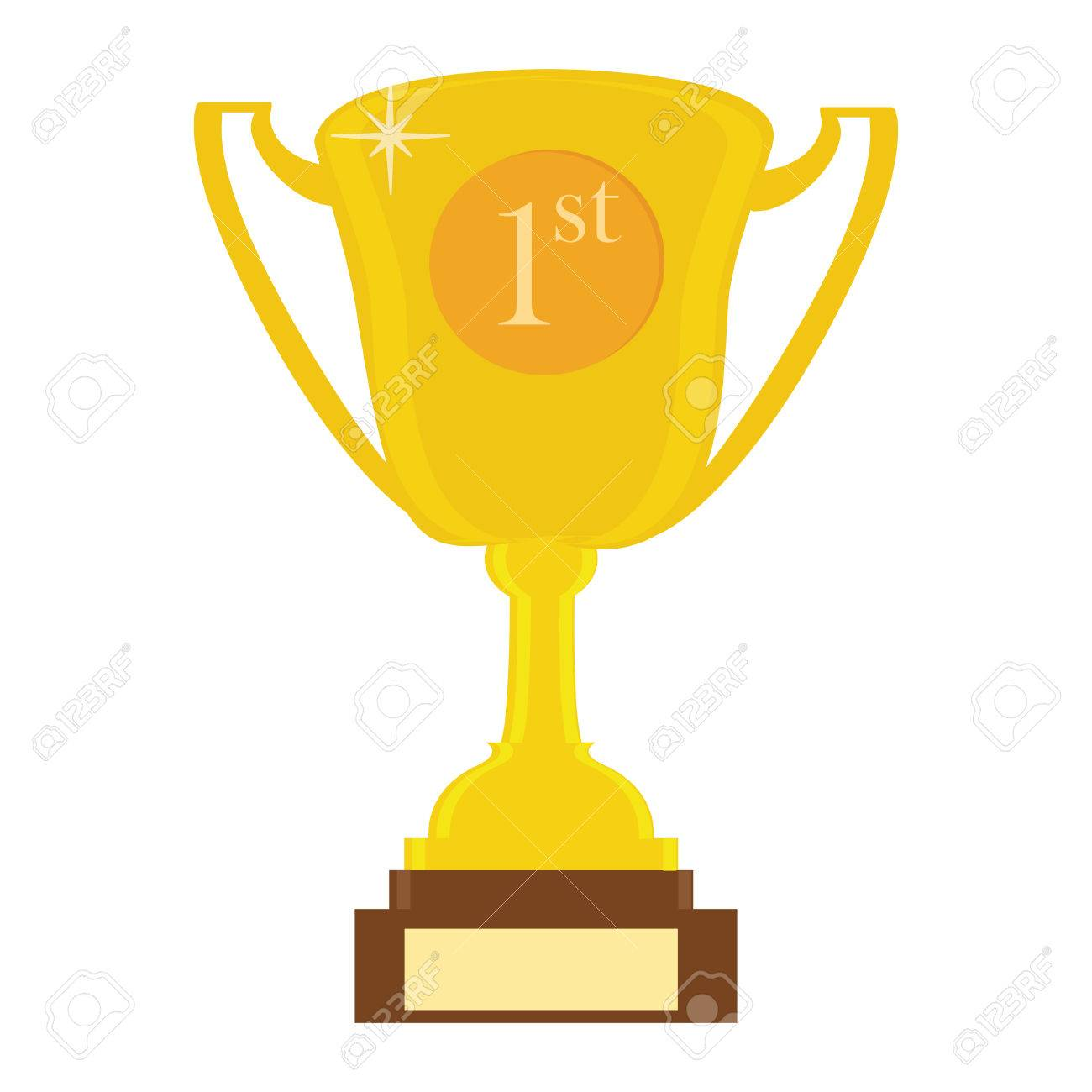 Vector illustration of golden trophy cup for first place. Trophy...