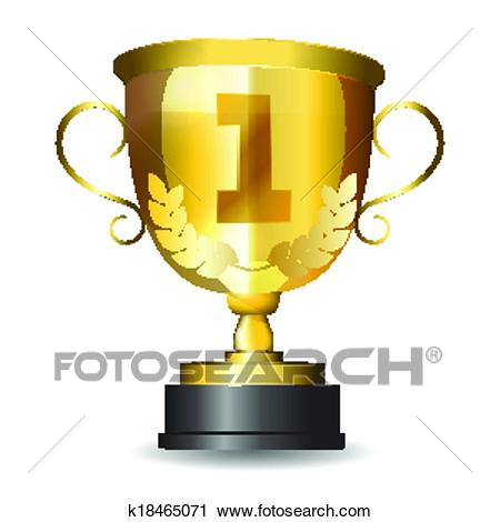 Golden first place trophy Clipart.