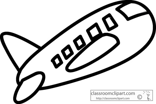 Free Black and White Aircraft Outline Clipart.