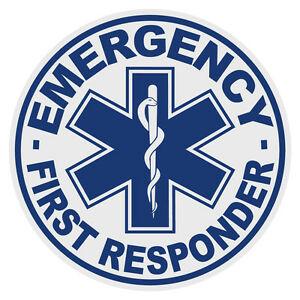 Details about Emergency First Responder Medium Round Reflective Firefighter  Decal Sticker.