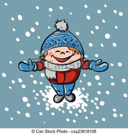Vector Clipart of Boy enjoys first snow.