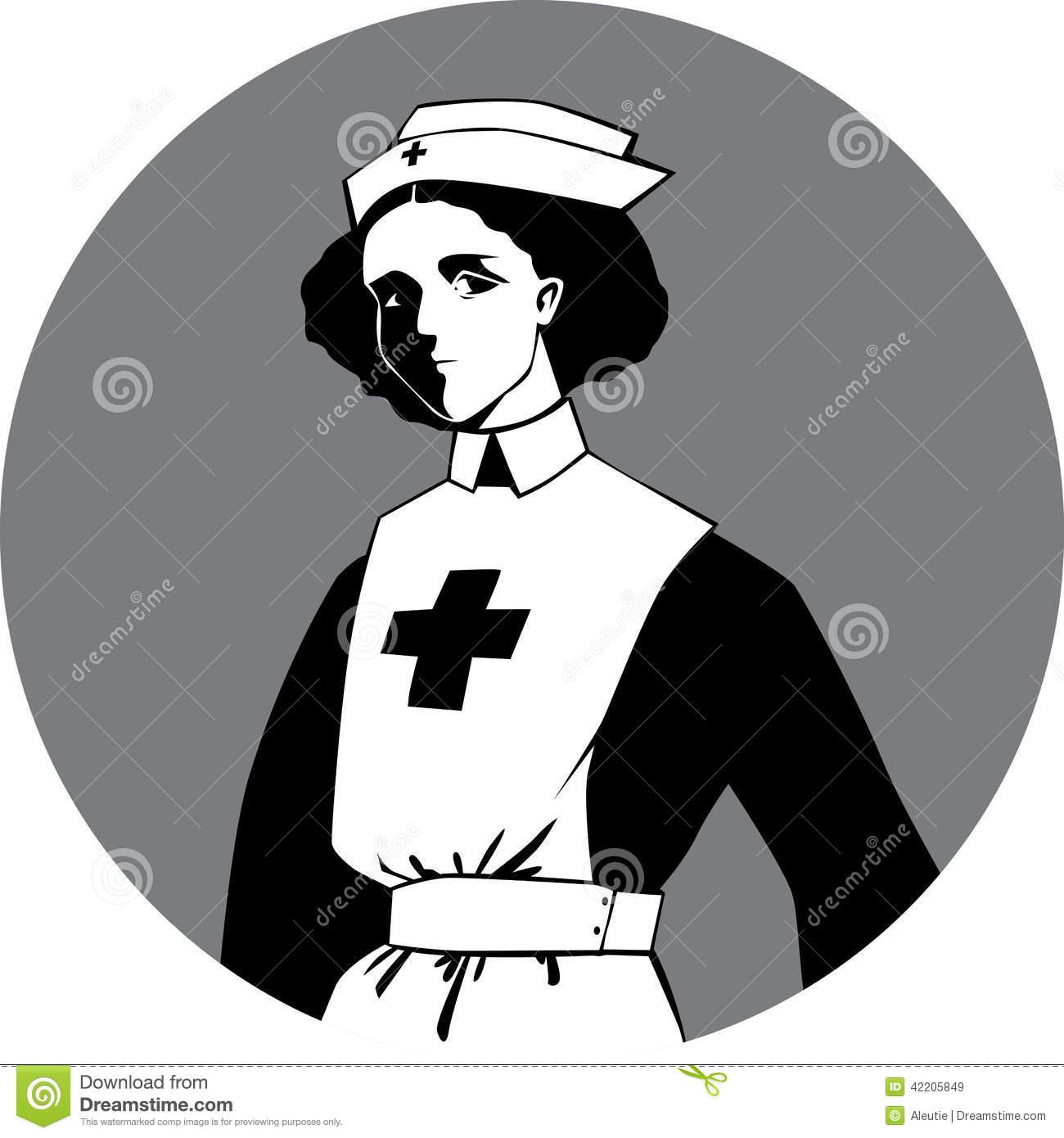 World War One Nurse Clipart Stock Vector.