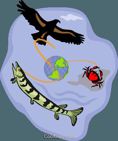 symbolische Szene Meer, Fisch, Adler, Krabben Vektor Clipart Bild.