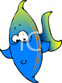 Cartoon Clipart Picture Of A Colorful Tropical Fish.