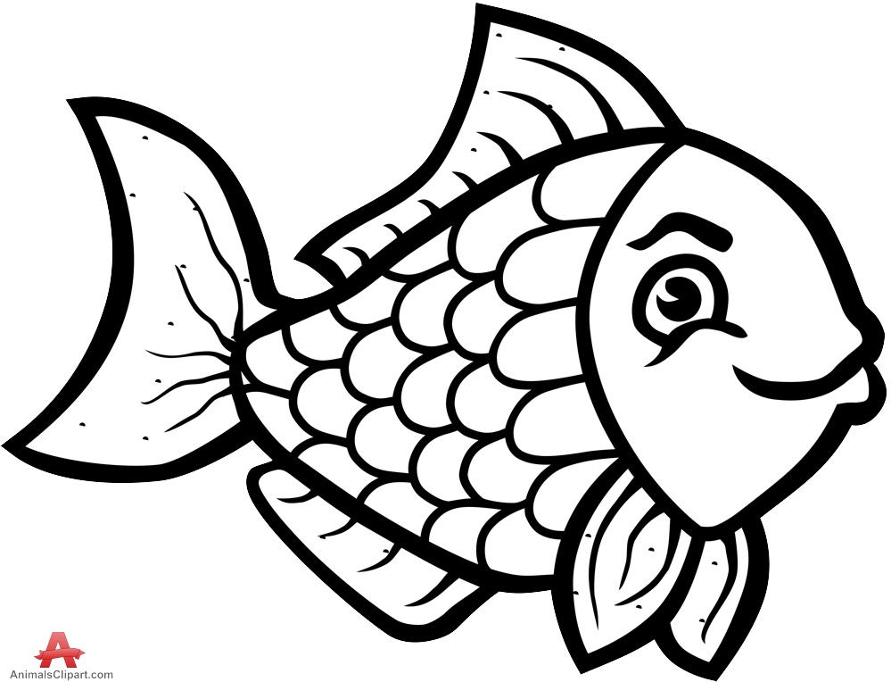 Beautiful Fish Clipart Outline Design in Black and White.