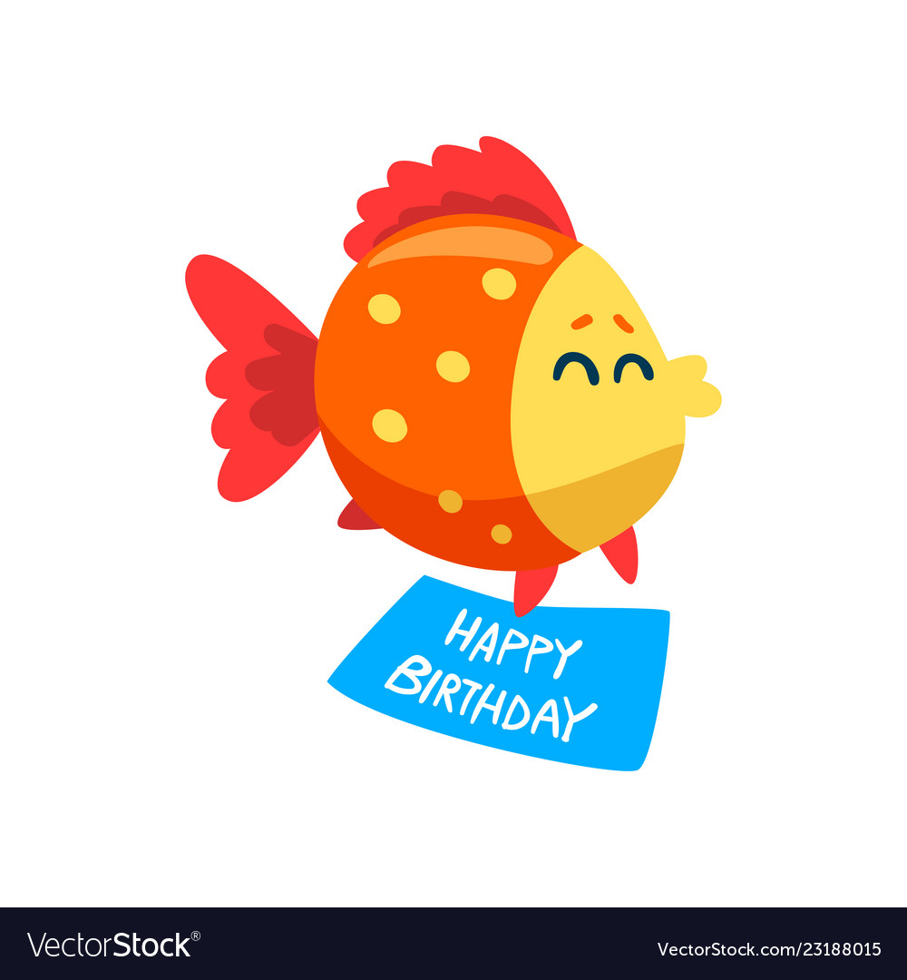 Cute fish holding a happy birthday banner little.