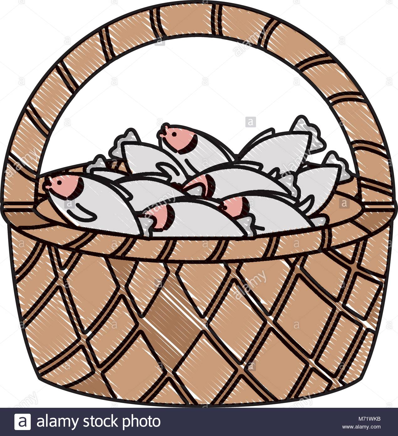 Basket with fish over white background, colorful design vector Stock.