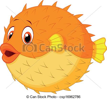 Cute puffer fish clipart.