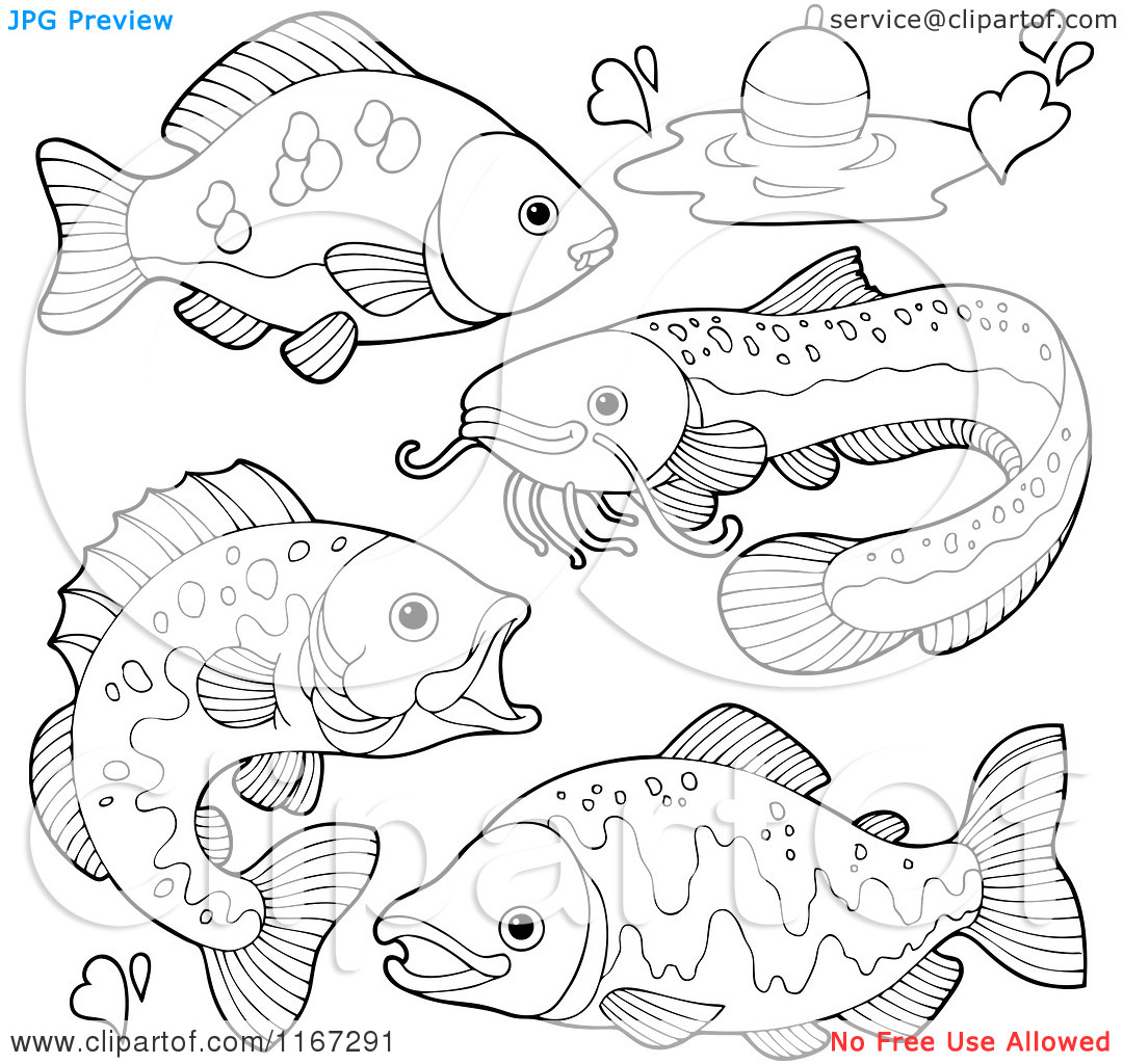 Cartoon of Outlined River Fish and a Fishing Bob.
