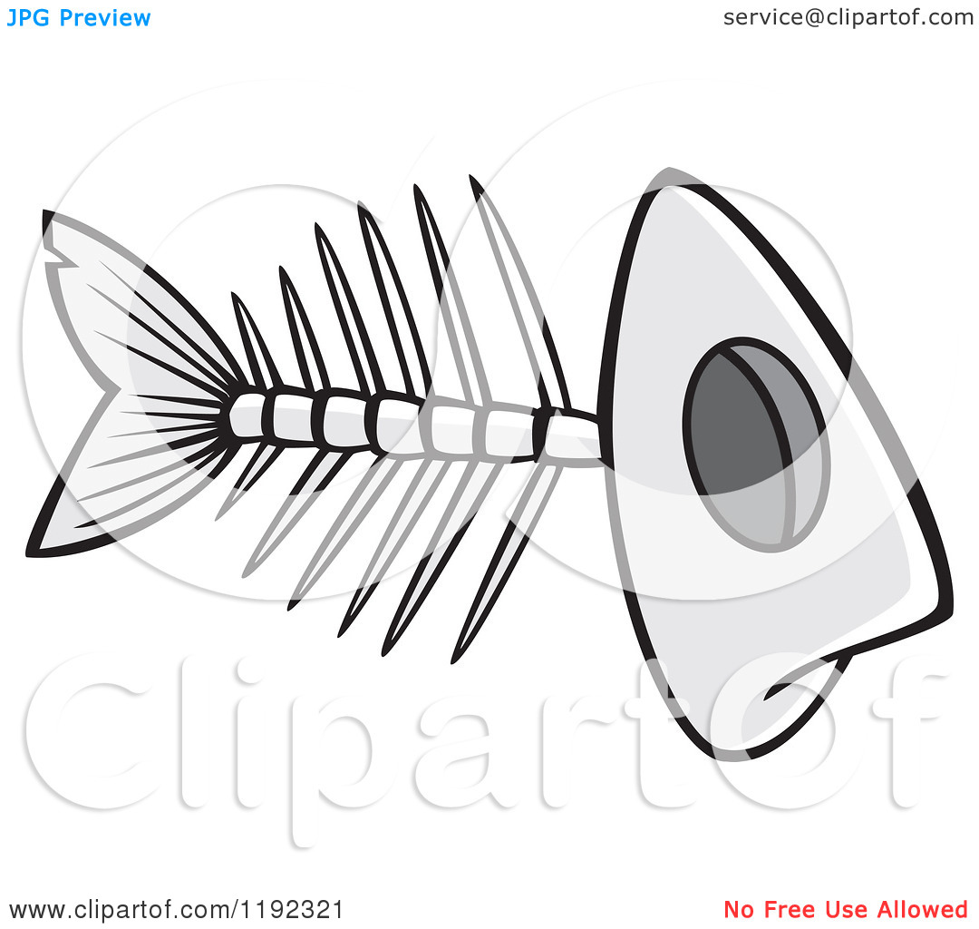 Cartoon of a Grayscale Fish Bone Skeleton.