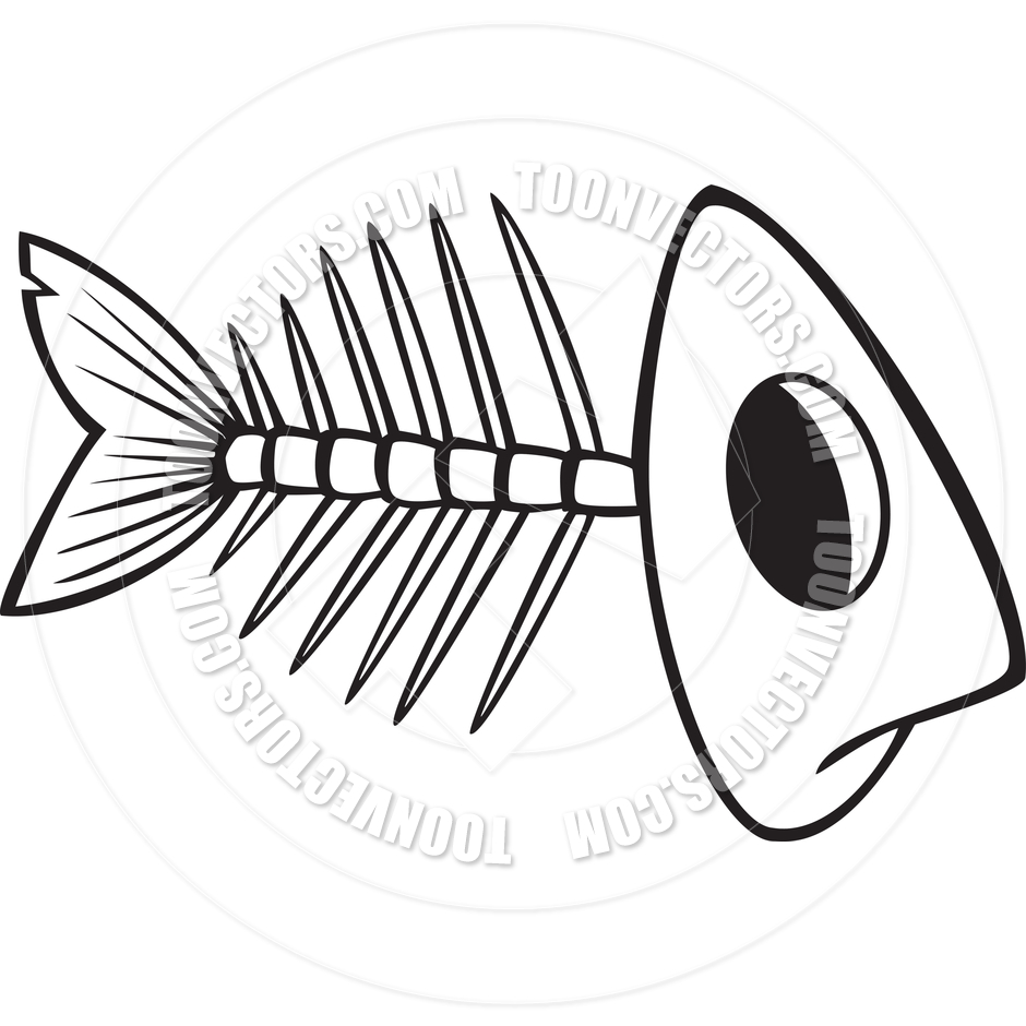 Cartoon Fish Bones (Black and White Line Art) by Ron Leishman.