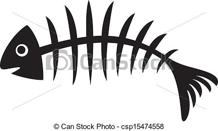Clipart Vector of Fish bone (illustration of black fish bone, fish.
